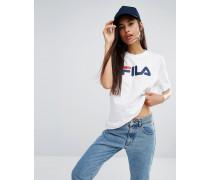 Oversize-Boyfriend-T-Shirt mit Basic-Logo Weiß
