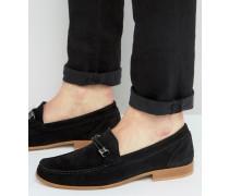 Snaffle Loafer aus schwarzem Wildleder mit Webdetail Schwarz