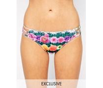 Bikinihose mit Riemendesign und geblümtem Gartenmuster, exklusiv bei ASOS Mehrfarbig