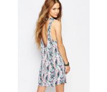 Trägerkleid mit tropischem Muster Mehrfarbig
