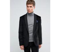 Schmal geschnittene Cord-Anzugjacke in Schwarz Schwarz