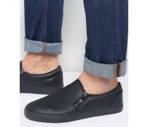 Schwarze Slipper mit Reißverschluss Schwarz