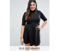 Plus Office Skaterkleid mit hohem Kragen Schwarz