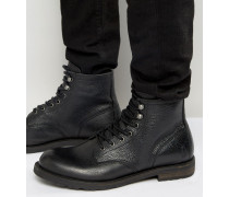 Walker Warme Lederstiefel zum Schnüren Schwarz