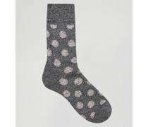 Gepunktete Stiefelsocken aus Wolle Grau