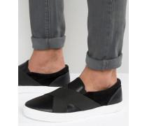 Schwarze Stoffschuhe mit überkreuztem Design Schwarz