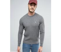Marlow Pullover mit Zopfmuster in Kalkgrau Grau