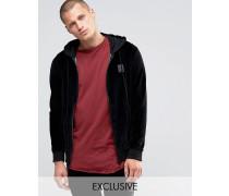Kapuzen-Sweatshirt aus Velours mit durchgehendem Reißverschluss Schwarz