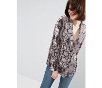 Pyjama-Bluse mit Schlangenmuster Mehrfarbig