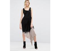 Asymmetrisches Kleid in Batikfärbung Schwarz