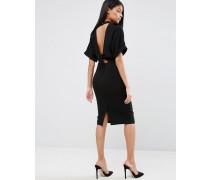 Hochgeschlossenes Kleid mit Rückenausschnitt Schwarz