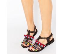 Bestickte Sandalen mit Bommel Mehrfarbig