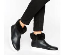 Ankle-Boots mit Kunstfellbesatz Schwarz