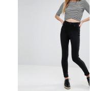 Oki Deluxe Skinny-Jeans mit hohem Bund Schwarz