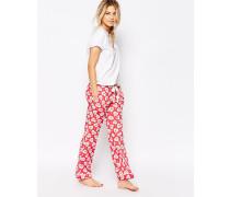 Pyjamahose mit Herzmuster zu Schnüren Rot