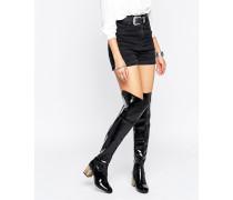 Overknee-Stiefel mit detailliertem, hohen Absatz Schwarz