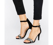 Barely There Bestickte Sandalen mit Absatz Mehrfarbig
