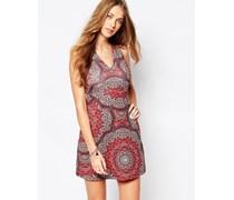 Bedrucktes Kleid in A-Form Rot