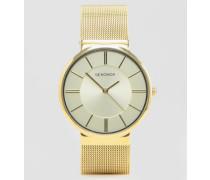 Goldene Uhr mit Netzarmband, exklusiv bei ASOS Gold