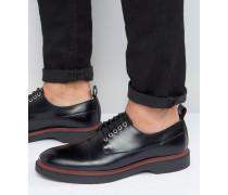 Schwarze Derby-Schuhe zum Schnüren mit farbiger Sohle Schwarz