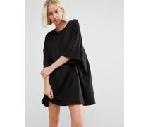 Überdimensioniertes T-Shirt-Kleid Schwarz