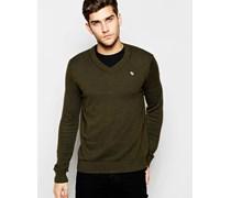 Pullover mit V-Ausschnitt in Kaschmir-Baumwolle Grün