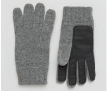 Stirling Graue Handschuhe aus Lammwolle mit Handfläche aus Leder Grau