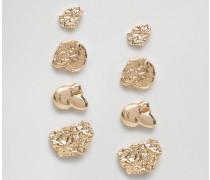 Verzierte, mehrlagige Ohrringe Gold