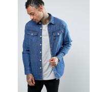 3301 Schmal geschnittenes Jeanshemd mit Medium-Aged-Waschung Blau