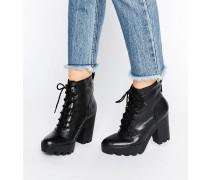 Jeans Serena Derbe Ankle Boot aus Leder zum Schnüren und mit Absatz Schwarz
