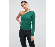 Schulterfreier Pullover in Metallic Grün
