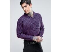 Schlankes Hemd mit Herz-Print und Revers-Kragen Marineblau
