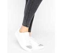 An der Spitze verzierte Sneaker Weiß