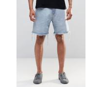 Love Normal geschnittene, ungesäumte Jeans-Shorts in hellblauer Waschung Blau