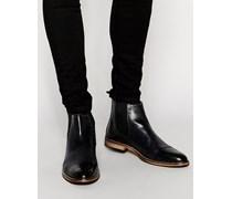 Chelsea-Stiefel im Budapester Stil aus schwarzem Leder Schwarz