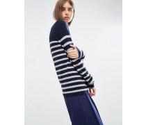 Gestreifter Pullover mit Stehkragen aus 100% Kaschmir Mehrfarbig