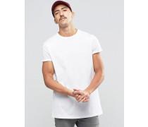 Lang geschnittenes T-Shirt mit Rollärmeln in Weiß Weiß