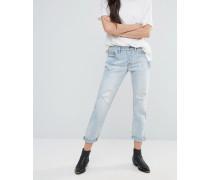 Levi's 501 Ct Old Favourite Boyfriend-Jeans mit Rissen und umgekrempelten Abschlüssen Blau