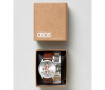 Uhr mit austauschbaren Armbändern in Silber Silber