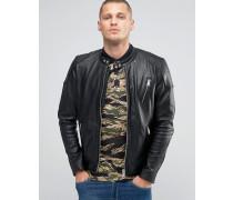 Leather Bikerjacke in verwaschenem Schwarz Schwarz