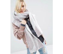 Flauschiger Oversize-Schal mit großem Wirbelmuster im Stil der 70er Grau