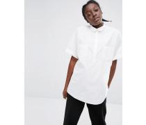 Eckig geschnittenes Hemd mit Tasche vorn Weiß
