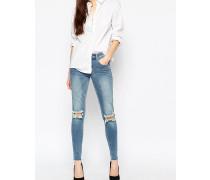 Enge Jeans mit Knierissen Blau