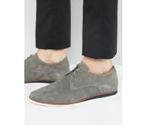 Derby-Schuhe zum Schnüren aus grauem Wildleder mit Keilabsatz Grau