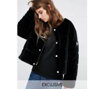 Übergroße, wattierte Jacke ohne Kragen aus Samt Schwarz