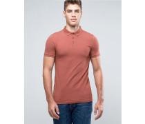 Rotes Pikee-Polohemd in extremem Muscle Fit mit Button-Down-Kragen Rot