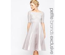 Midi-Spitzenballkleid im Bardot-Stil Grau