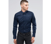 Schmal geschnittenes Stretchhemd Marineblau
