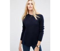 Pullover aus Wollmischung Marineblau