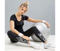 Gymnastik-Leggings mit Grafik-Print Schwarz